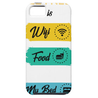 All I Need Is Wifi Food & My Bed Funny Tough iPhone 5 Case