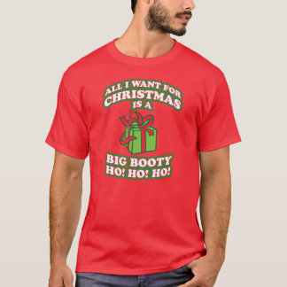 all i want for christmas is a big booty hoe, unny, T-Shirt