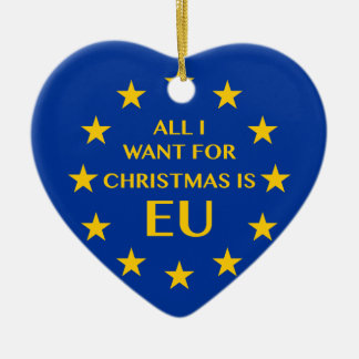 All I want for Christmas is EU Ceramic Heart Decoration