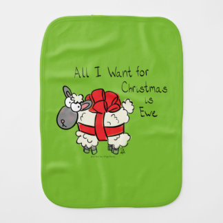 All I Want for Christmas is Ewe Sheep Cartoon Baby Burp Cloth
