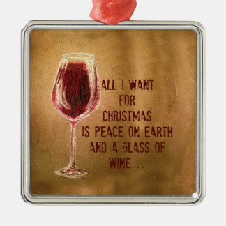 All I Want for Christmas Wine Ornament