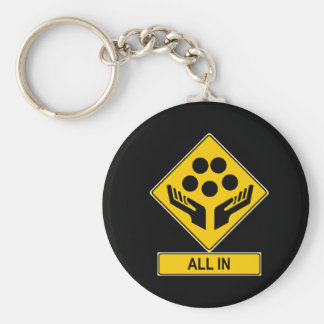 All In Caution Sign Basic Round Button Key Ring