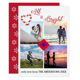 All is Bright Candy Cane Heart Photo Collage Card