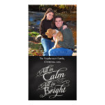 All is Calm Chalkboard Christmas Photo Greeting Card