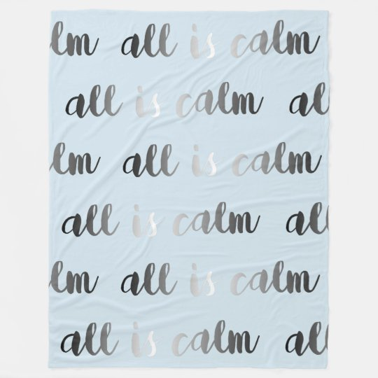 All is Calm Ice Blue Grey and Silver Christmas Fleece Blanket
