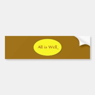 All is Well Bumper Sticker brown