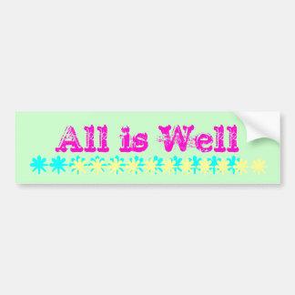All is Well Bumper Sticker pink green