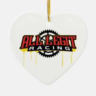 All Legit Racing Logo Ceramic Heart Decoration