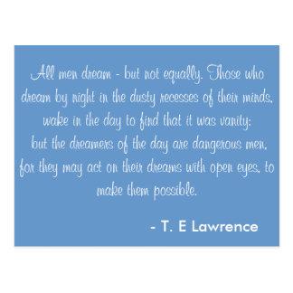 All men dream T. E Lawrence Postcard