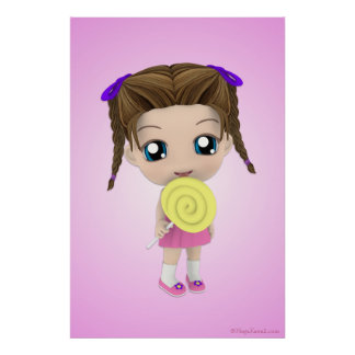 All Mine Chibi Girl Candy Poster