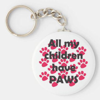 All my Children have Paws Basic Round Button Key Ring