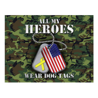 All My Heroes Wear Dog Tags - Camo Post Cards