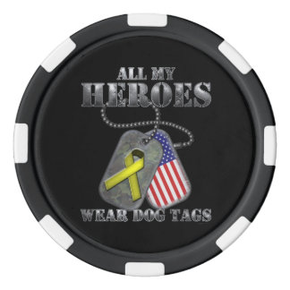 All My Heroes Wear Dog Tags Poker Chips