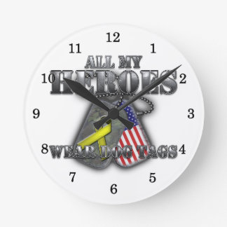 All My Heroes Wear Dog Tags Round Clock