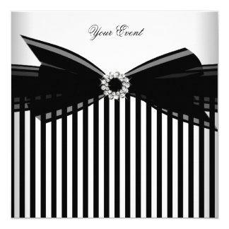 All Occasion Black Bow White Stripe Party 13 Cm X 13 Cm Square Invitation Card