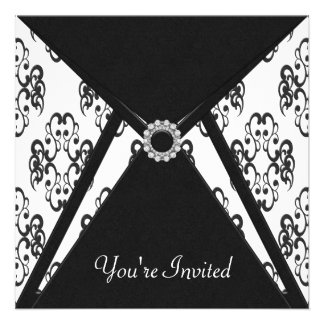 All Occasion Black Damask Party Invites