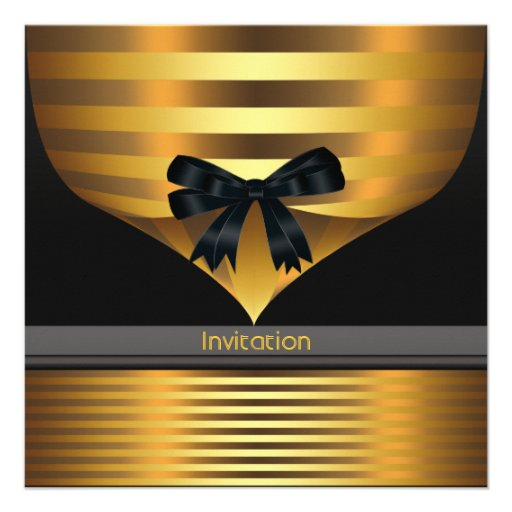 All Occasion Black Gold Party Custom Invite
