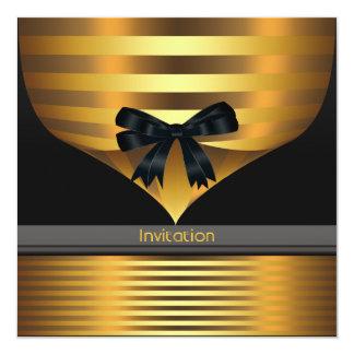 All Occasion Black Gold Party 13 Cm X 13 Cm Square Invitation Card
