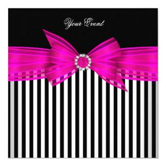 All Occasion Hot Pink Black White Stripe Party 13 Cm X 13 Cm Square Invitation Card