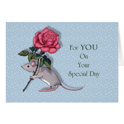 All Occasion: Mouse With Big Pink Rose, For You Card