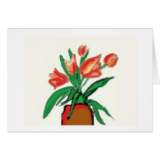 All occasion note card with peach colored tulips