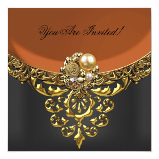 "All Occasions Elegant Coffee Rust Gold Black 5.25"" Square Invitation Card"