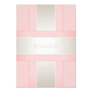 All Occasions Pastel Pink Silver White 13 Cm X 18 Cm Invitation Card