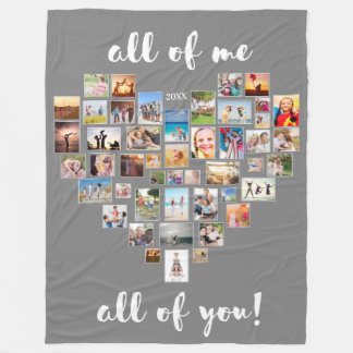 All of Me Loves All of You Collage Heart Fleece Blanket