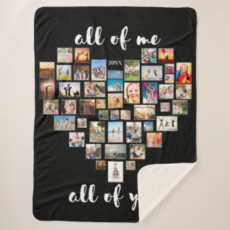 All of Me Loves All of You Collage Heart Sherpa Blanket