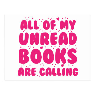 all of my unread books are calling postcard