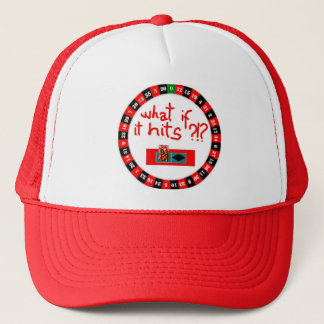 all on red trucker hat