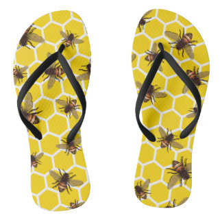 All Over Bees on Honeycomb Cup Flip Flops