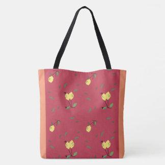 all over lemon fruit with orange background tote bag