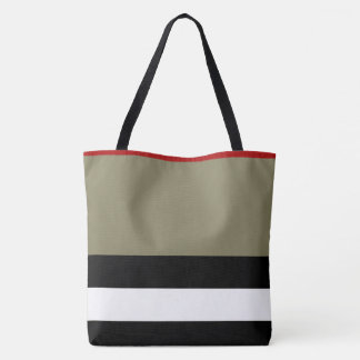 All Over Print Large Tote - Black Red Stripe