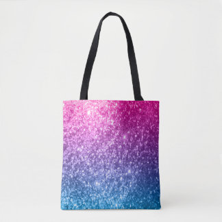 All Over Print Pink, Purple & Blue Glitter Design Tote Bag