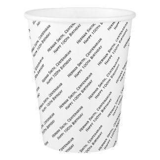 All-over Print Repeating Your Text - Black/White Paper Cup