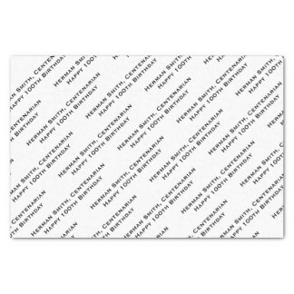 All-over Print Repeating Your Text - Black/White Tissue Paper