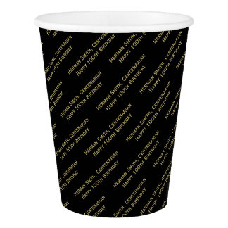 All-over Print Repeating Your Text - Gold/Black Paper Cup