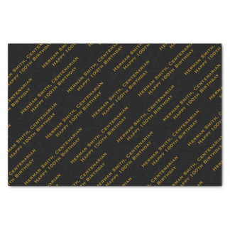 All-over Print Repeating Your Text - Gold/Black Tissue Paper