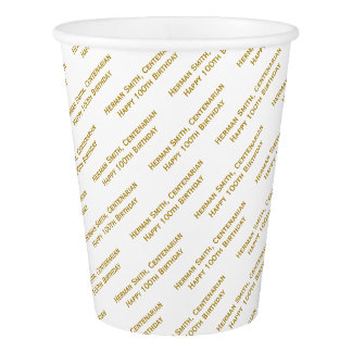 All-over Print Repeating Your Text - Gold/White Paper Cup