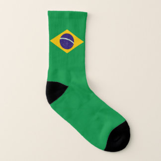 All Over Print Socks with Flag of Brazil 1