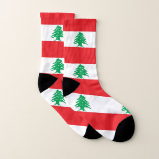 All Over Print Socks with Flag of Lebanon 1