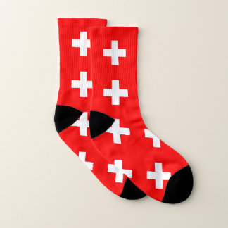 All Over Print Socks with Flag of Switzerland 1