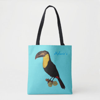 ALL OVER PRINT TOTE BAG TEAL TOUCAN BIRD