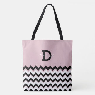 all-over-printed tote with chevron stripes + name