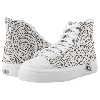 All Paths End There-Abstract Art Black And White High Tops