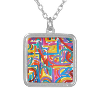 All Paths Go There - Abstract Art Handpainted Silver Plated Necklace