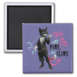 All Paws No Claws (colour) Square Magnet