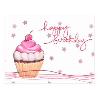 All Pink and Sparkly Birthday Fanfare Postcard