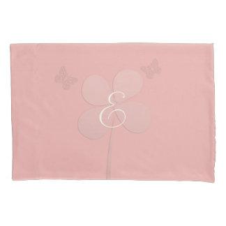 All Pink Flower Butterflies  Monogram Pillow Case